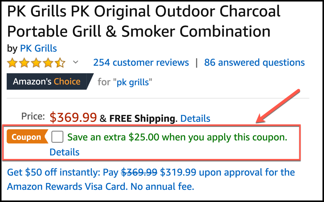 Zoomed image of coupon code interface on Amazon. Continue reading and we'll show you how this has been designed to influence your buyer psychology.
