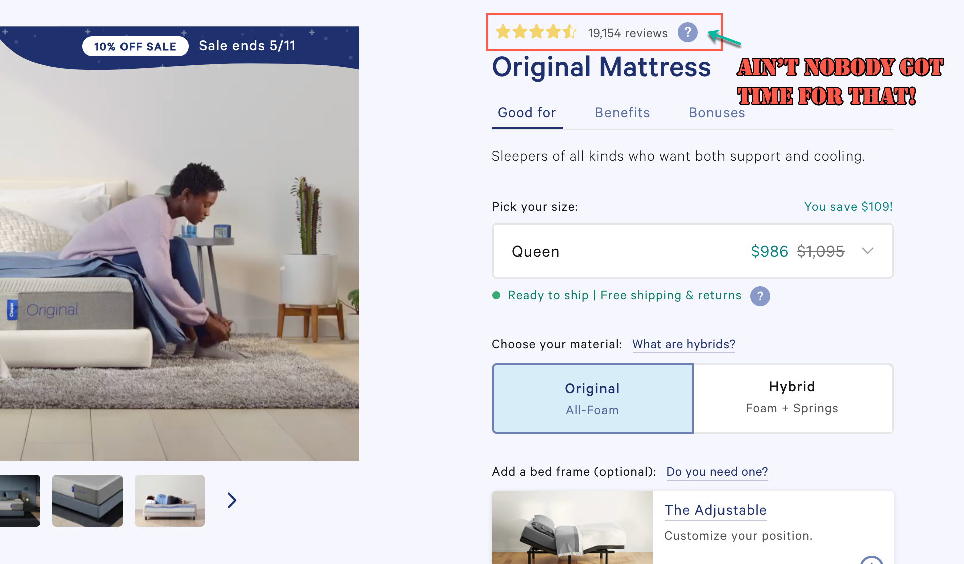 The buyer psychology of product pages with thousands of reviews.