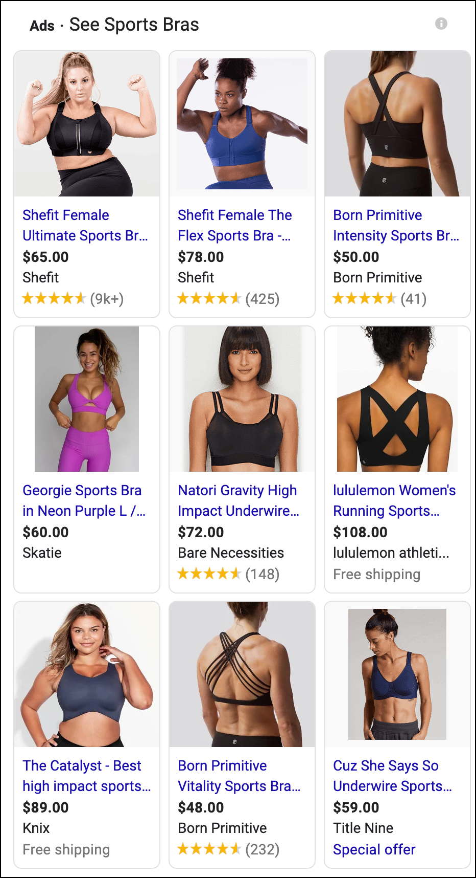 Google search for sports bra